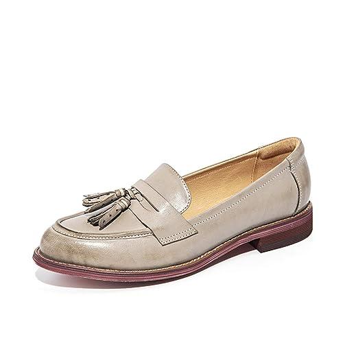 Mujeres Penny Loafers Borlas De Piel De Oveja MocasíN Dedo del Pie Acentuado Lady Flats ResbalóN En Las Mujeres Hechas A Mano CuñAs Bajas Zapatos: ...