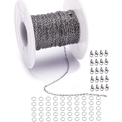 (33 Feet Stainless Steel Flat Cross Chains Link Spool Bulk with 20 Lobster Clasps and 50 Jump Rings for Pendant Necklace Jewelry DIY Making (Chain Width 1mm+20pcs Clasps+50 Rings, Silver))