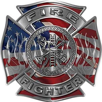 Fire Fighter Maltese Cross Decal with Flames with American Flag ()