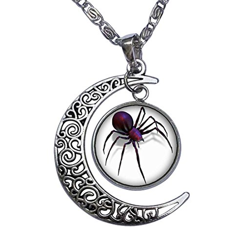 GiftJewelryShop Halloween Black Widow Spider Crescent Moon Galactic Universe Glass Cabochon Pendant Necklace -
