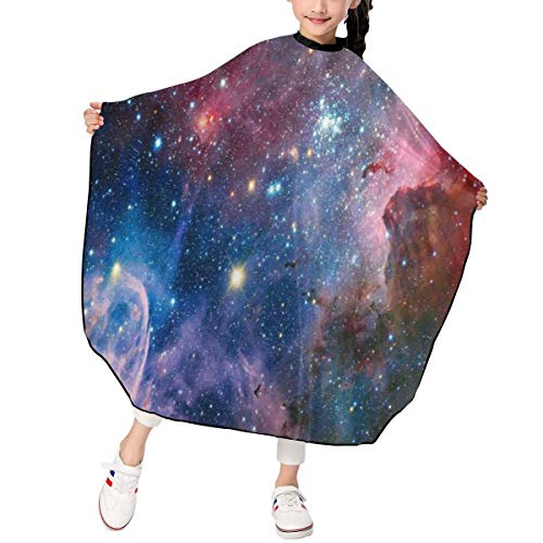 (Haircut Cape Stars Nebula Explosive Galaxy Fantastic Hairdressing Apron Polyester Water Resistant Hair Cutting Cape for Kids)