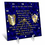 3dRose dc_40072_1 Ephesians 6 Verses 10, 14, 15 Put on Full Armor of God Illustrated with Breastplate, Shield, Swords Desk Clock, 6 by 6-Inch