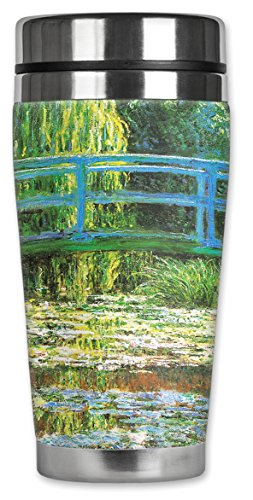 Mugzie 129-MAX ''Monet: Japanese Footbridge'' Stainless Steel Travel Mug with Insulated Wetsuit Cover, 20 oz, Black by Mugzie