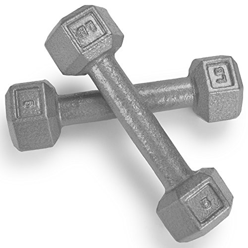 Crown Sporting Goods Pair (2) of Cast Iron Hex Dumbbells with Hammertone Finish