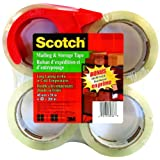 Scotch Mailing and Storage-Packaging Tape, Clear, Bonus Dispenser Included, 48mm X 50m (Per Roll), 4 Rolls, (3650-4PK-D)