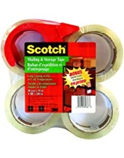 """Scotch Packing Tape Mailing & Storage Tape, 1.88"""" x 50m, 4 Rolls with Hand-held Dispenser"""
