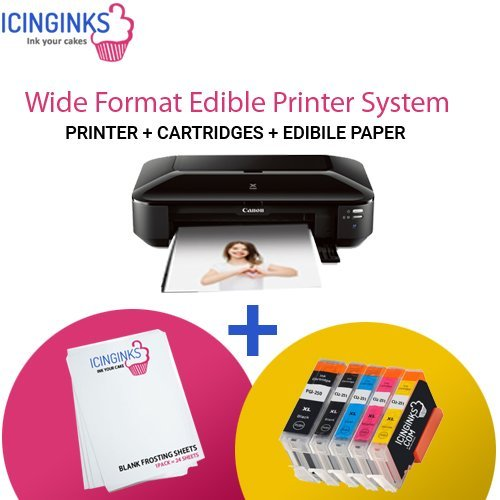 Icinginks Wide Format Edible Printer System - Comes with Refillable Edible Cartridges and 12 Frosting Sheets - Canon PIXMA iX6820 (Wireless) ()