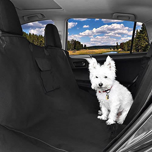 Pet Car Back Seats Cover & Pets Seat Belt: Protect Vehicle With Waterproof Barrier. Extra Large Rear Bench Dog Hammock Covers to Keep Puppy Safe. Washable Protectors Fit Cars - SUV - Truck - Carrier