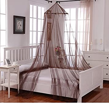 Girls Chocolate Hanging Brown Bed Canopy Ceiling Frame Draperies Bedroom Mosquito Netting To Floor