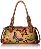 Anuschka Anna by Handpainted Leather Top Zip Satchel, Animal Butterfly