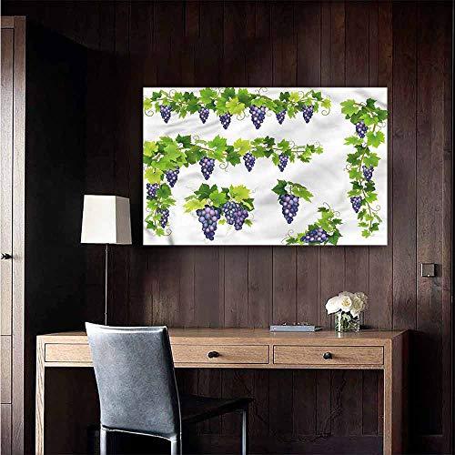 Wall Mural Wallpaper Stickers Vine Green Leaf Cluster of Berries Boys Kids Bedroom Size : W36 x H24