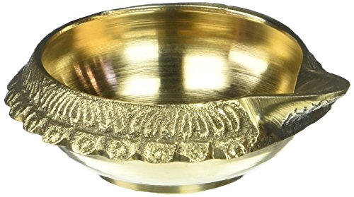 Shri Krishna Arts Brass Handcrafted Diwali Puja Oil Lamp Diya, Hindu Religious Gift Antique Handmade Engraved Oil Lamp, Religious Accessory for Prayer Room, Akhand Jyoti, Kuber Diya with Stand