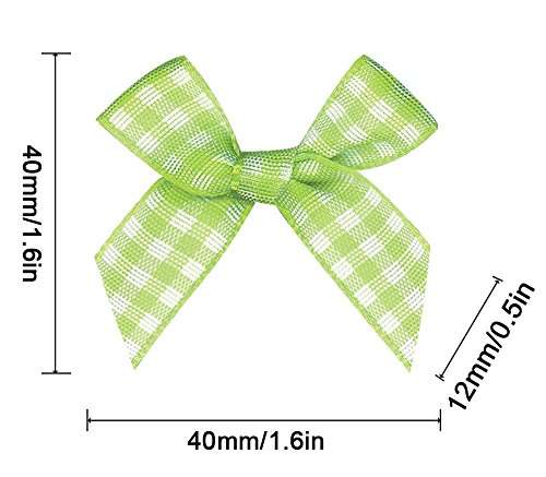 16 Color Pre-Tied Green+White Satin Gift Bows Plaid (Pack of 50)