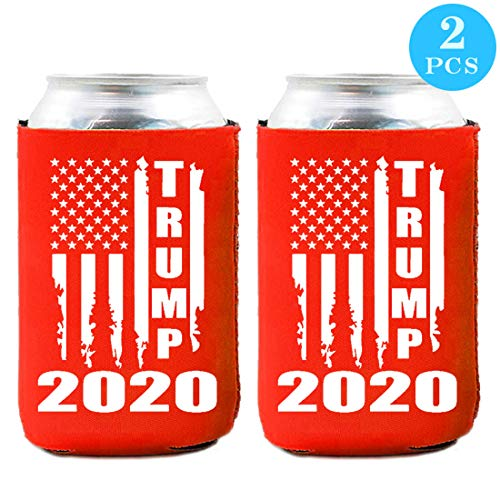 Trump 2020 Can Cooler - Keep America Great Neoprene Beer Can Coozies - Set of 2