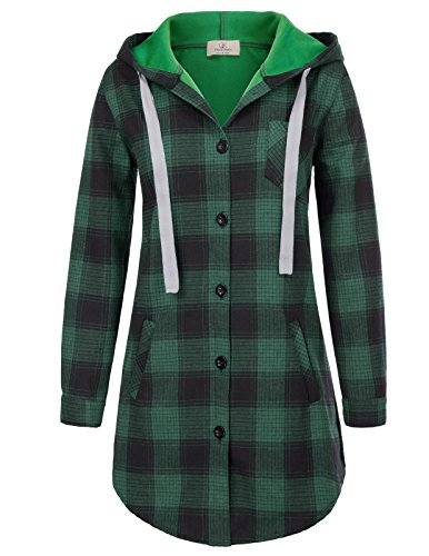 Women's Casual Mid-Long Style Plaid Button Down Shirt Plus Size XXL Green (Plus Size Flannel Hoodie)