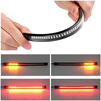 Tira LED ZHUOTOP para luz de freno o se/ñal de giro de motocicleta con 48 LED universal y flexible