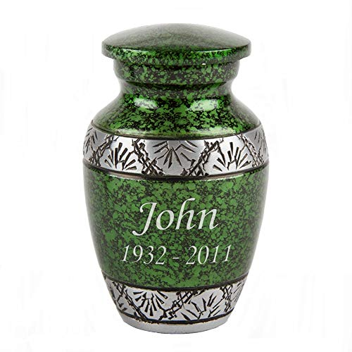 Perfect Memorials Custom Engraved Green Lively Leaves Keepsake Cremation Urn