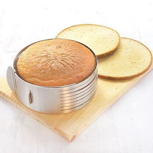 1 Set Stainless Steel Mousse Cake Layer Cut Tools Cake Slicer Device Bakeware Cooking Cake RingTools Metal Circle Adjustable
