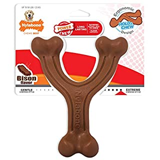 Nylabone Ergonomic Hold & Chew Wishbone Power Chew Durable Dog Toy Bison Flavor Large/Giant, Brown (NWB314P)
