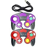 Bowink 2 Packs Classic Wired Gamepad Controllers for Wii Game Cube Gamecube console(Black Red and Black Purple)