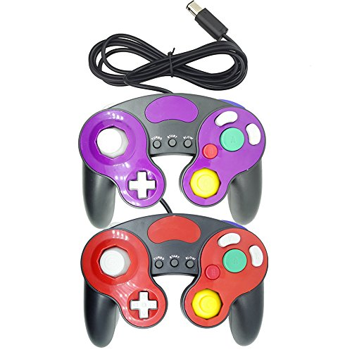 Poulep 2 Packs Classic NGC Wired Controllers for Wii Gamecube (Red2 and Purple2)