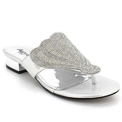 AARZ LONDON Womens Ladies Crystal Diamante Evening Wedding Party Bridal Prom Slip-On Block Heel Sandals Shoes Size Silver 9WgCU