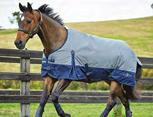 Grey Navy 72 Grey Navy 72 Saxon 600D Standard Neck Lite Turnout Blanket With Gusset ll