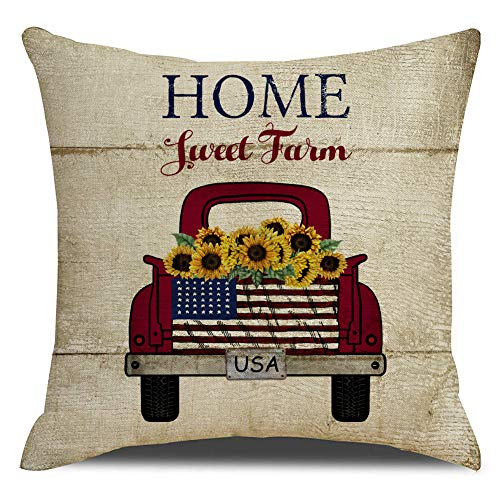 KACOPOL Vintage Farmhouse Red Truck with Sunflower Pillow Covers Farm Decorative Cotton Linen Independence Day American Flag Throw Pillow Case Cushion Cover 18 x 18 (Sunflower Truck)