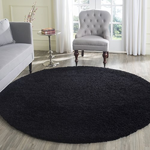 Safavieh Laguna Shag Collection SGL303L Black Round Area Rug (6'7