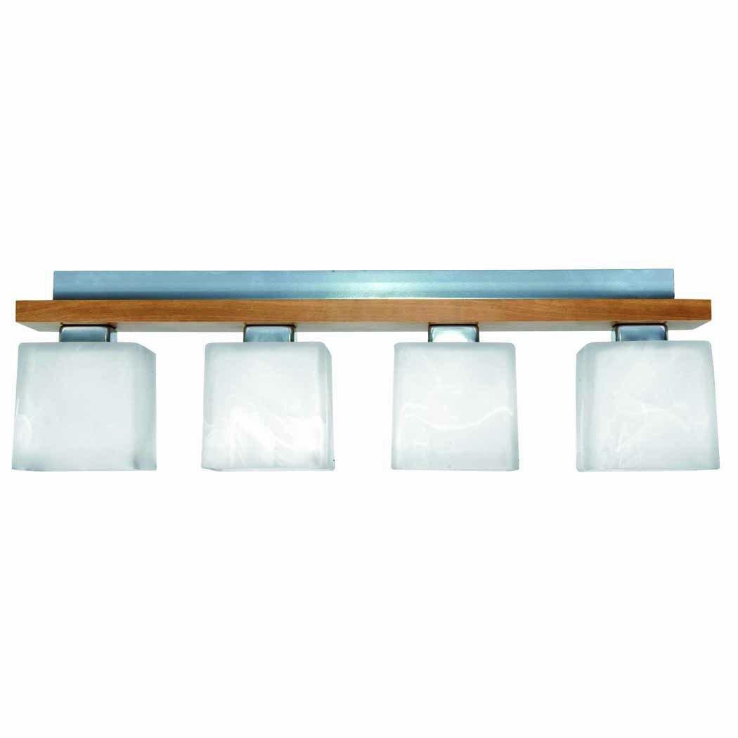 Deckenlampe Decken Leuchte Glas Buche Holz Metal Lampe Wohnzimmer Esszimmer 4 Flammig Auch Fur LED Birnen Geeignet Amazonde Beleuchtung