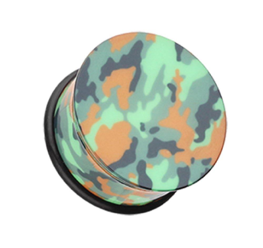 Freedom Fashion Camouflage Acrylic Single Flared Ear Gauge Plug Sold by Pair