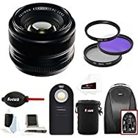 Fujifilm 35mm f/1.4 XF R Lens (Black) w/Focus Accesory Bundle & Camera Backpack