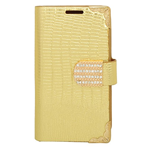 Eagle Cell Flip Wallet Crocodile Skin Pattern Case Cover for LG L70/Ultimate 2 L41C/Exceed 2/Realm - Retail Packaging - Gold