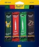 Vandoren SRMIXS25 Soprano Sax Jazz Reed Mix Card includes 1 each ZZ, V16, JAVA and JAVA Red Strength 2.5