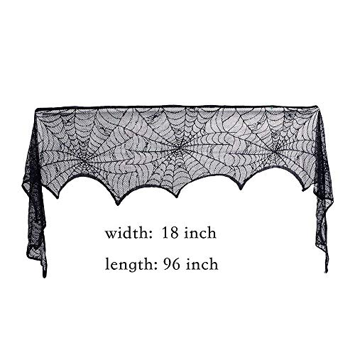 Halloween Decoration Black Lace Spiderweb Fireplace Mantle Scarf Cover Halloween Table Runner Festive Supplies fit Halloween Christmas Party Door Window Decoration Black 18 x 96 inch ()