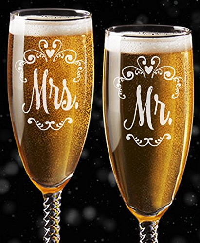 (Mr Mrs Wedding Reception Celebration Twisty Stem Champagne Glasses Set of 2 Couples Newlywed Married Gift Groom Bride Husband Wife Anniversary Engraved CLEAR Flute Glass Favors (Non Personalized))