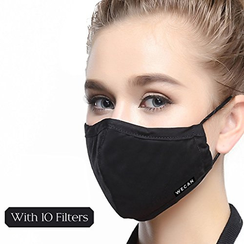 Dust Mask 5 Layer Activated Carbon Filter Washable Replaceable Filter For Man And Women (One Mask + 10 filters) Women Black by Maxcharm