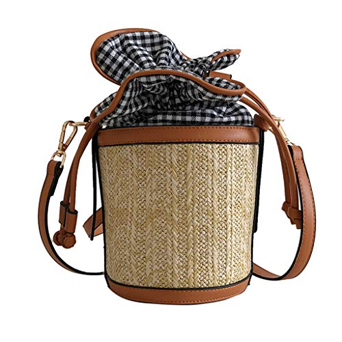 Ladies Girls Retro Straw Weave Plaid Bucket Bag Crossbody Shoulder Messenger Bag Shopping Working Traveling Satchels (Brown, One)