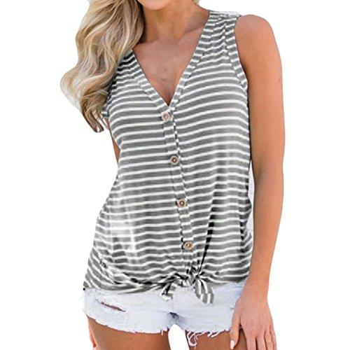 Sunhusing Fashion!Women's Sexy Sleeveless Vest V-Neck Striped Button Buckle Hem Bow Tie T-Shirt Gray