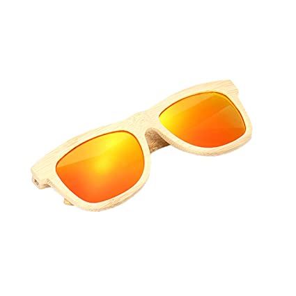TENGGO Unisex Hecho A Mano Gafas De Sol Polarizadas Marco De Madera De Bambú Pesca Templo