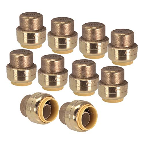 "PROCURU 1/2-Inch PushFit End Cap, Push-to-Connect Plumbing Fitting for Copper, PEX, CPVC, PE-RT Pipe, Lead Free Certified (1/2"", 10-Pack)"