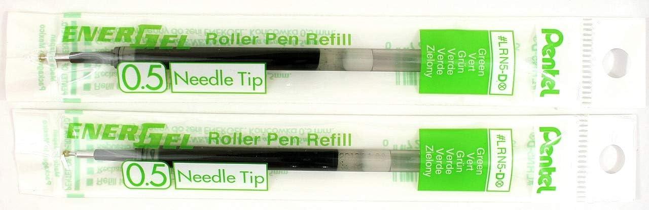 0.5 mm Fine Needle Tip 2 Pk Pentel LRN5-D EnerGel Refills Green