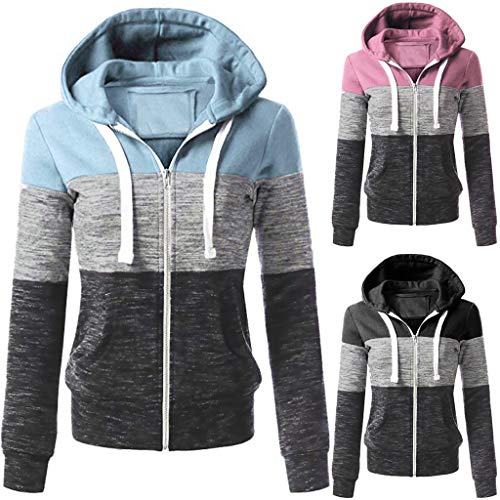 a2ec371f3b Shakers123 Womens Casual Hoodies Sweatshirt Patchwork Hooded Blouse  Pullover (H, M)