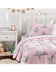 AmazonBasics Easy-Wash Microfiber Kid's Bed-in-a-Bag Bedding Set - Twin, Pink Cats