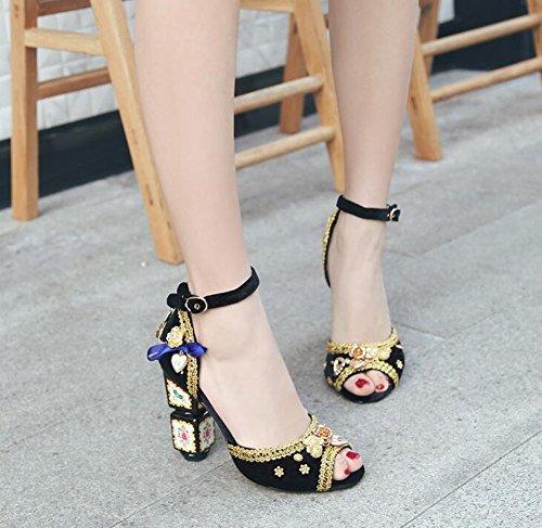 De Lujo Mujeres D'orsay Oro Sandalias De Oso De Ankle Encaje Strap Black Verano Terciopelo De Sandalias Toe Pump De De Peep Piel HqwRrH