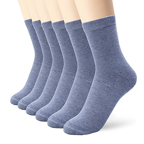 6 Pack Blue Thin Cotton Socks Lightweight High Ankle For Women ()