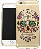 IPhone 6 PLUS Clear Case Sugar Skull Day Of The Dead Dia de los Muertos Teen Girls UNIQUE Designer CLEAR Transparent Gloss Candy TPU Flexible Slim Case Cover Skin for Apple iPhone 6 Plus 5.5