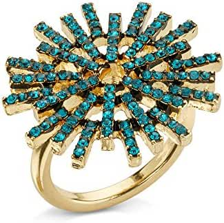 Speed Dial Ring by 7 Charming Sisters - Aqua Blue Crystal Ring - Sunburst Mirror Inspired Womens Cocktail Ring
