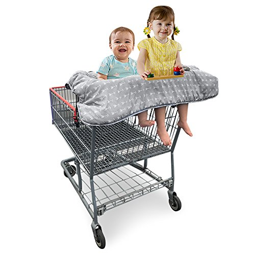 Extra Cart - Double Shopping Cart Cover for Twins or Baby Siblings. Guaranteed to Fit Wholesale Warehouse Grocery Stores. Such as Costco and Sams Club