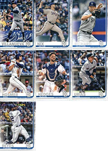 (2019 Topps Series 1 Baseball San Diego Padres Team Set of 10 Cards: Jacob Nix(#33), Christian Villanueva(#56), Clayton Richard(#92), Eric Hosmer(#161), Manny Margot(#170), Franmil Reyes(#186), Luis Urias(#192), Austin Hedges(#234), Joey Lucchesi(#265), Kirby Yates(#347))